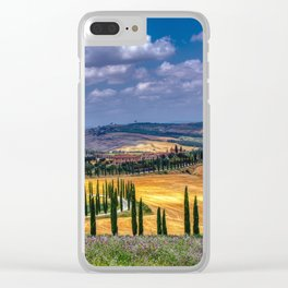 Cypress trees and meadow with typical tuscan house Clear iPhone Case