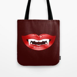 Vampire Mouth Illustration With Red Lips And Fangs Tote Bag