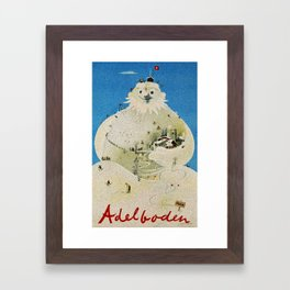 Vintage Adelboden Switzerland Travel Poster - Snowman Framed Art Print
