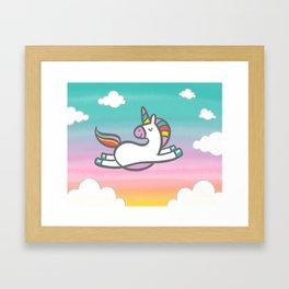 Unicorn in the Clouds Framed Art Print