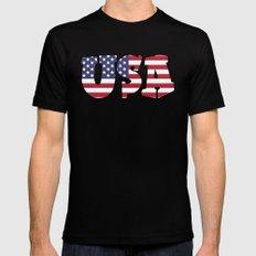 USA Stars & Stripes Black Mens Fitted Tee MEDIUM