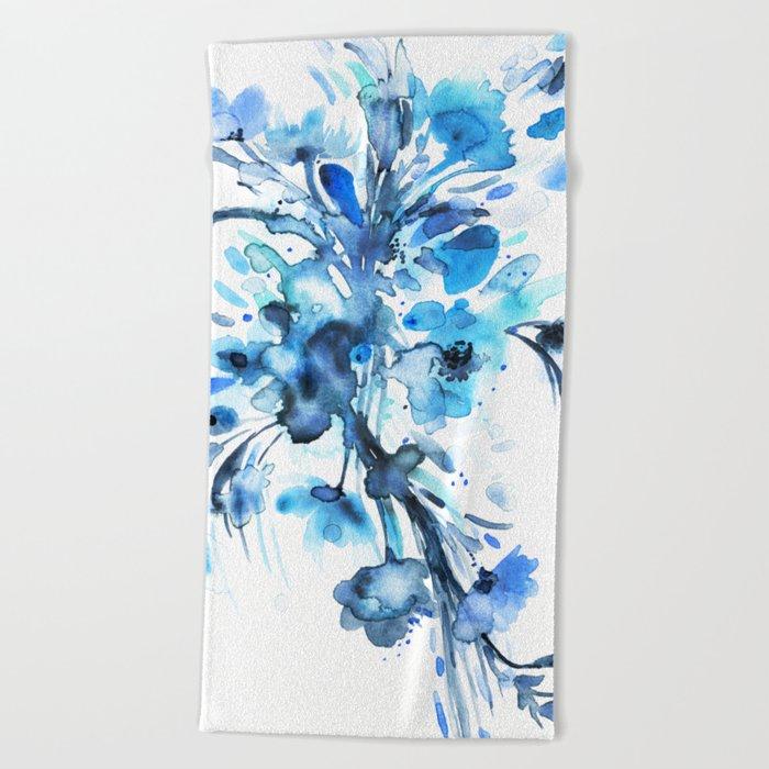 Blue Watercolor Floral 2 Beach Towel