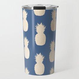 Gold Pineapples on Aegean Blue Travel Mug