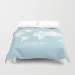 World Map - Wanderlust Quote - Modern Travel Map in Light Blue With White Countries Duvet Cover