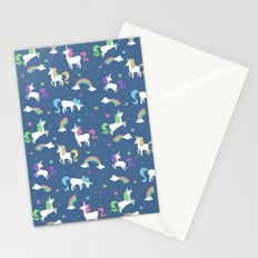 Unicorns and Rainbows - Blue Stationery Cards