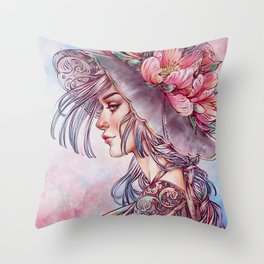 Spring Wind Witch Throw Pillow