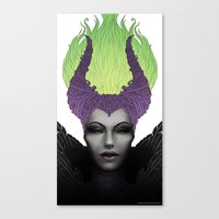 maleficent Canvas Prints featuring Maleficent by clayscence