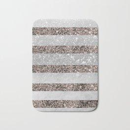 White Marble Rose Gold Glitter Stripe Glam #2 #minimal #decor #art #society6 Bath Mat