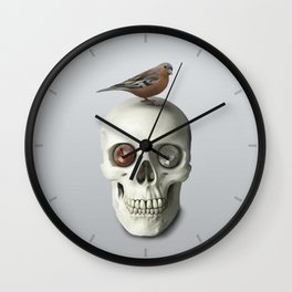 Skull & bird, watercolor Wall Clock
