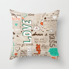 Seamless love letter pattern Throw Pillow