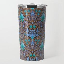 Modern Victorian Maximalist Pattern Art Decor In Orange, Mint and Periwinkle Travel Mug