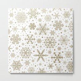 Christmas Snowflakes, Gold and White, Christmas, Decor Art Metal Print