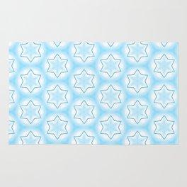 Shiny light blue winter star snowflakes pattern Rug