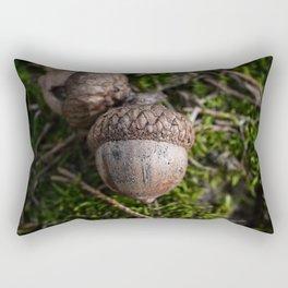Fall Acorn on Green Moss Rectangular Pillow