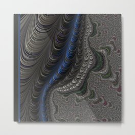Royal Blue, grey, emerald green and pink coiled fractals Metal Print