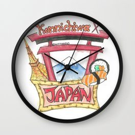 Japan Konnichiwa Wall Clock