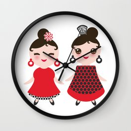 Spanish Woman flamenco dancer. Kawaii cute face with pink cheeks and winking eyes. Gipsy girl Wall Clock
