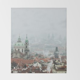 Cold Mornings over Prague Throw Blanket