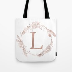Letter L Rose Gold Pink Initial Monogram Tote Bag