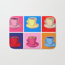 Coffee Mugs Pop Art Style Bath Mat