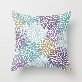 Floral Prints, Purple, Teal, Gold, Colour Prints Throw Pillow