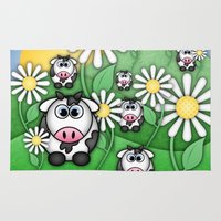 cows Area & Throw Rugs featuring Cows & Daisies  by Digi Treats 2