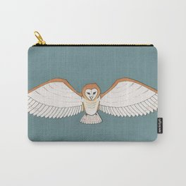 Barn Owl in Teal Carry-All Pouch