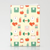 fitness Stationery Cards featuring Fitness pattern by Xinnie and RAE