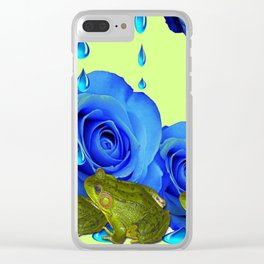 DECORATIVE BLUE SURREAL DRIPPING ROSES & GREEN FROGS Clear iPhone Case
