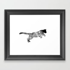 Jungle Panther, Cat, Moon and Stars Framed Art Print
