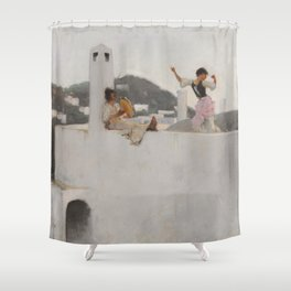 Classical Masterpiece Capri Girl on a Rooftop by John Singer Sargent Shower Curtain