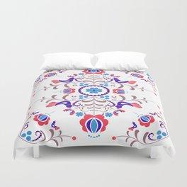 RED & BLUE  Hungarian folk art Duvet Cover