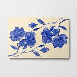 Roses II - Royal Blue & Pale Yellow Metal Print