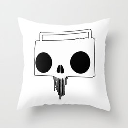 Boombox Skull (Black & White) Throw Pillow