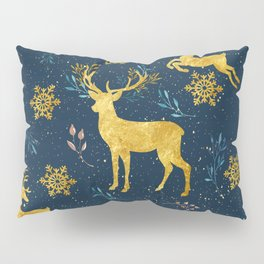 Golden Reindeer Pillow Sham