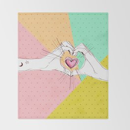 Heart Hands [Vintage Candy Edition] Throw Blanket
