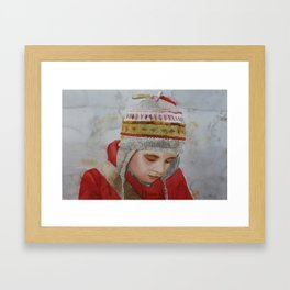 Drawing on my Notebook works better with my Lucky Hat on Framed Art Print