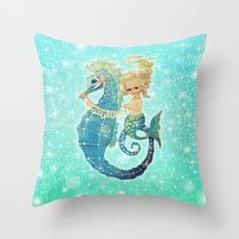 Glitter Mermaid Seahorse Throw Pillow