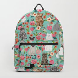 Cats floral mixed breed cat art cute gifts for cat ladies cat lovers pet art Backpack