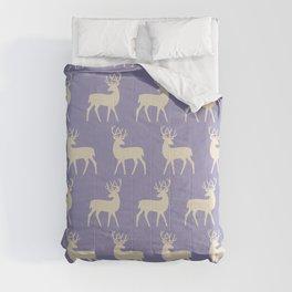 Mid Century Modern Deer Pattern Lavender and Tan Comforters
