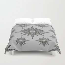 Surf in a windrose – compass (tattoo style) Duvet Cover