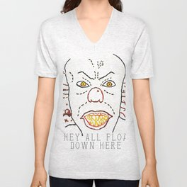 They All Float Down Here - Digitally Rendered Hand Embroidery Unisex V-Neck