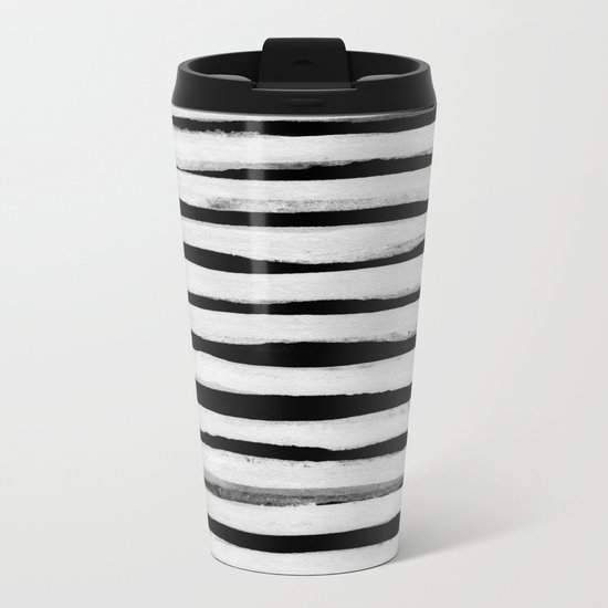 Black and White Stripes II Metal Travel Mug