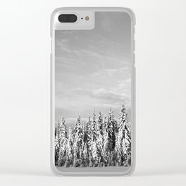 Spruce After Snow Storm Clear iPhone Case