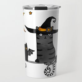 2 cats – Bat and Wizard on a broomstick for Halloween Travel Mug