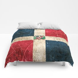 Vintage Aged and Scratched Dominican Flag Comforters