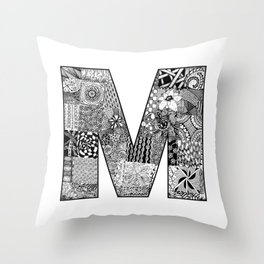 Cutout Letter M Throw Pillow