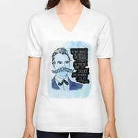 nietzsche V-neck T-shirts featuring Nietzsche and the Abstract Truth - Watercolor Version by Alexandra Ensign