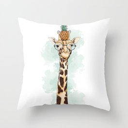 Intelectual Giraffe with a pineapple on head Throw Pillow