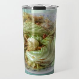 Stir-fry homemade organic Cabbage with chili pepper and garlic in oyster sauce. Travel Mug